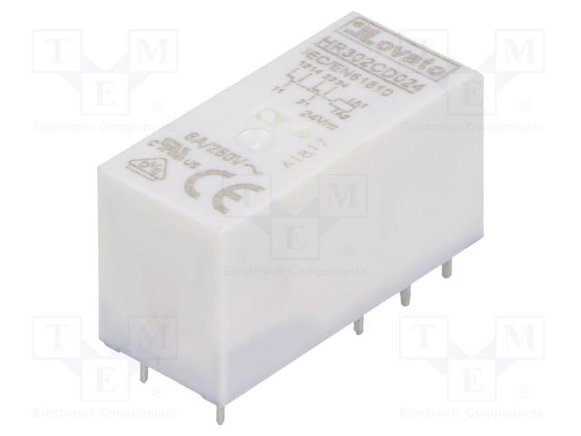 HR302CD024_Relay: electromagnetic; DPDT; Ucoil:24VDC; 8A/250VAC; 8A/30VDC; 8A