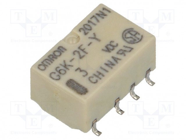 G6K-2F-Y 3VDC_Relay: electromagnetic; DPDT; Ucoil:3VDC; 0.3A/125VAC; 1A/30VDC