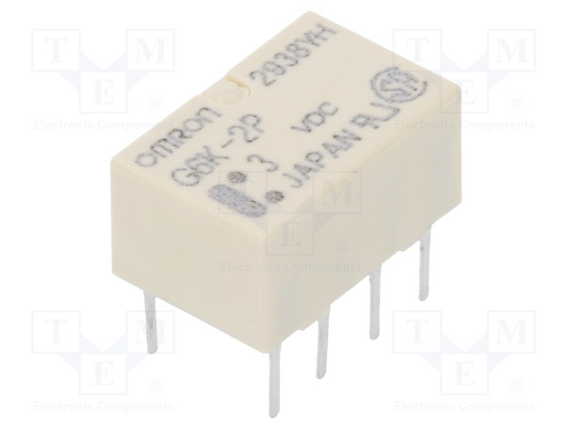 G6K-2P 3VDC_Relay: electromagnetic; DPDT; Ucoil:3VDC; 0.3A/125VAC; 1A/30VDC