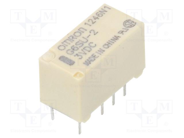 G6SU-2 3VDC_Relay: electromagnetic; DPDT; Ucoil:3VDC; 0.5A/125VAC; 2A/30VDC