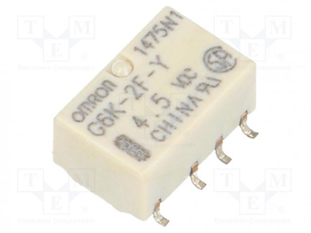G6K-2F-Y 4.5VDC_Relay: electromagnetic; DPDT; Ucoil:4.5VDC; 0.3A/125VAC; 1A/30VDC