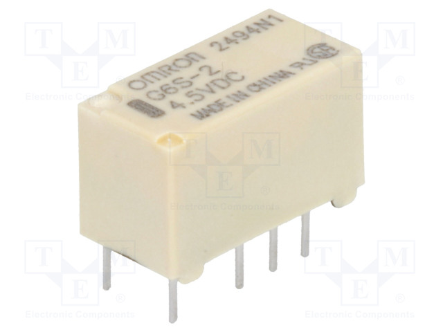 G6S-2 4.5VDC_Relay: electromagnetic; DPDT; Ucoil:4.5VDC; 0.5A/125VAC; 2A/30VDC