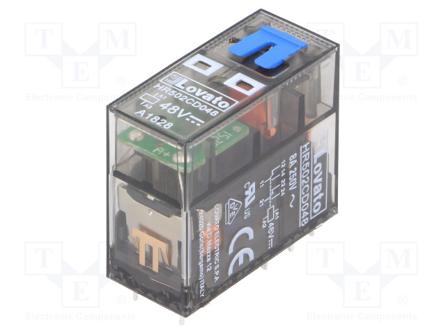 HR502CD048_Relay: electromagnetic; DPDT; Ucoil:48VDC; 8A/250VAC; 8A/30VDC; 8A