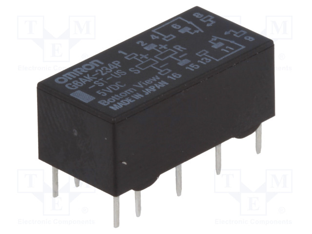 G6AK-234P-ST-US 5VDC_Relay: electromagnetic; DPDT; Ucoil:5VDC; 0.3A/125VAC; 1A/30VDC