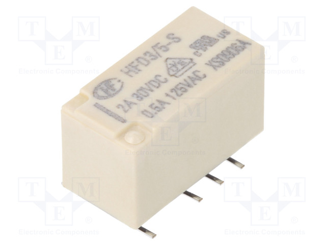 HFD3/5-S_Relay: electromagnetic; DPDT; Ucoil:5VDC; 0.5A/125VAC; 2A/30VDC