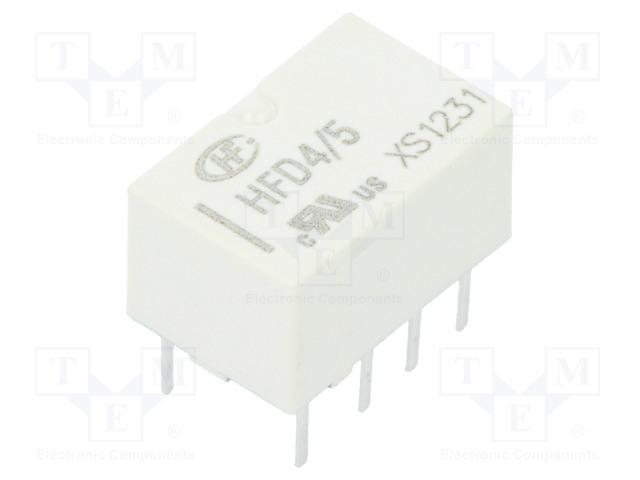 HFD4/5_Relay: electromagnetic; DPDT; Ucoil:5VDC; 0.5A/125VAC; 2A/30VDC