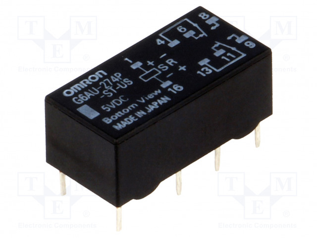 G6AU-274P-ST-US 5VDC_Relay: electromagnetic; DPDT; Ucoil:5VDC; 0.5A/125VAC; 2A/30VDC