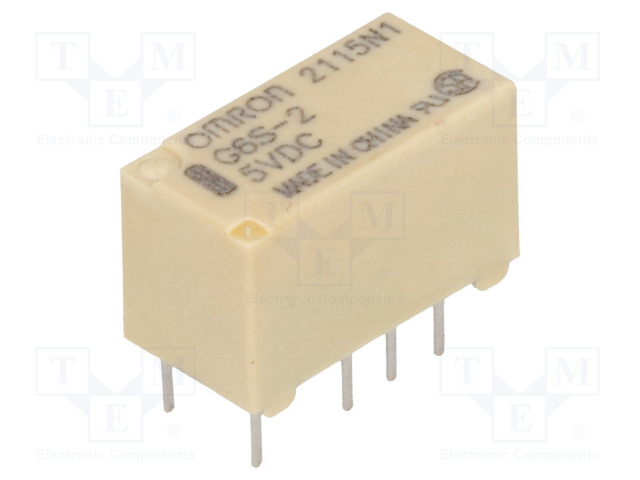 G6S-2 5VDC_Relay: electromagnetic; DPDT; Ucoil:5VDC; 0.5A/125VAC; 2A/30VDC