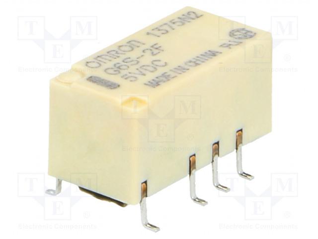 G6S-2F 5VDC_Relay: electromagnetic; DPDT; Ucoil:5VDC; 0.5A/125VAC; 2A/30VDC