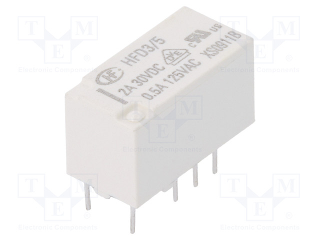 HFD3/5_Relay: electromagnetic; DPDT; Ucoil:5VDC; 0.5A/125VAC; 2A/30VDC