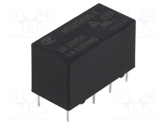 HFD27/005-S_Relay: electromagnetic; DPDT; Ucoil:5VDC; 1A/125VAC; 2A/30VDC; 2A