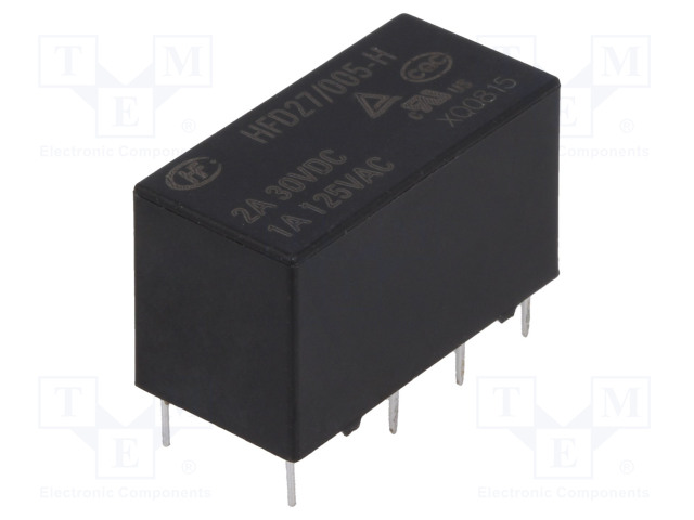 HFD27/005-H_Relay: electromagnetic; DPDT; Ucoil:5VDC; 1A/125VAC; 2A/30VDC; 2A