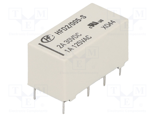 HFD2/005-S_Relay: electromagnetic; DPDT; Ucoil:5VDC; 1A/125VAC; 3A/30VDC; 3A