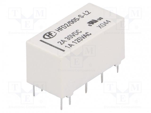 HFD2/005-S-L2_Relay: electromagnetic; DPDT; Ucoil:5VDC; 1A/125VAC; 3A/30VDC; 3A