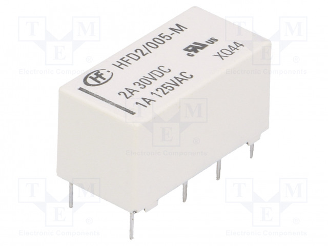 HFD2/005-M_Relay: electromagnetic; DPDT; Ucoil:5VDC; 1A/125VAC; 3A/30VDC; 3A