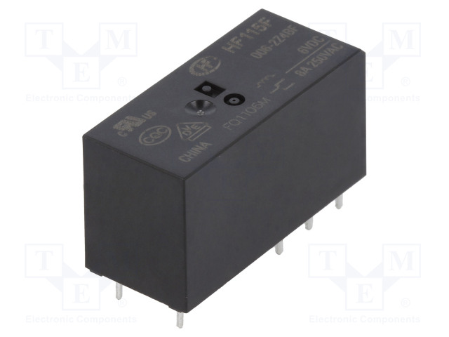 HF115F/006-2Z4BF_Relay: electromagnetic; DPDT; Ucoil:6VDC; 8A/250VAC; 8A/24VDC; 8A