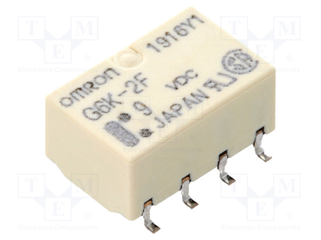 G6K-2F 9VDC_Relay: electromagnetic; DPDT; Ucoil:9VDC; 0.3A/125VAC; 1A/30VDC