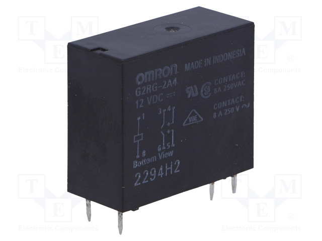 G2RG-2A4 12VDC_Relay: electromagnetic; DPST-NO; Ucoil:12VDC; 8A/250VAC; 8A/24VDC