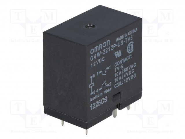 G4W-2212P-US-TV5 12VDC_Relay: electromagnetic; DPST-NO; Ucoil:12VDC; Icontacts max:10A