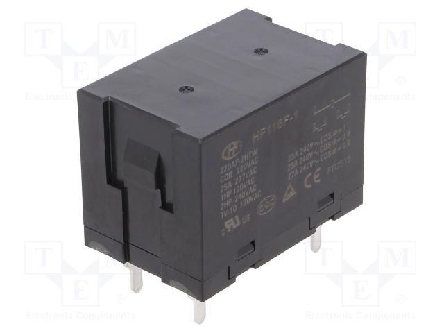 HF116F-1/220AP-2HTW_Relay: electromagnetic; DPST-NO; Ucoil:220VAC; 25A; Mounting: PCB