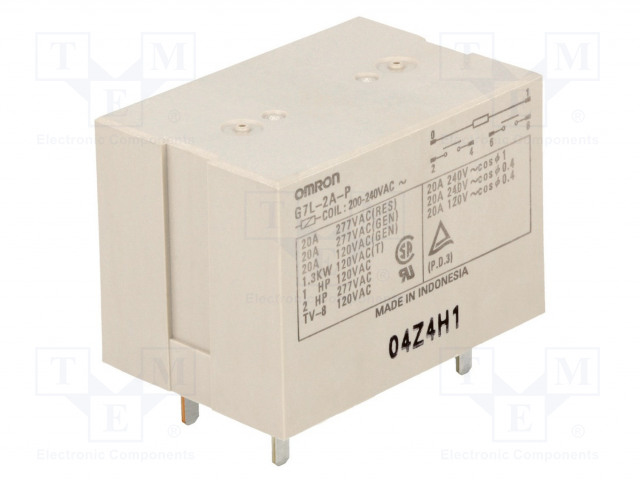 G7L-2A-P 200/240VAC_Relay: electromagnetic; DPST-NO; Ucoil:230VAC; Icontacts max:20A