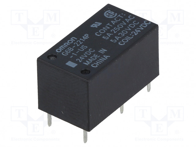 G6B-2214P-1-US 24VDC_Relay: electromagnetic; DPST-NO; Ucoil:24VDC; 5A/250VAC; 5A/30VDC