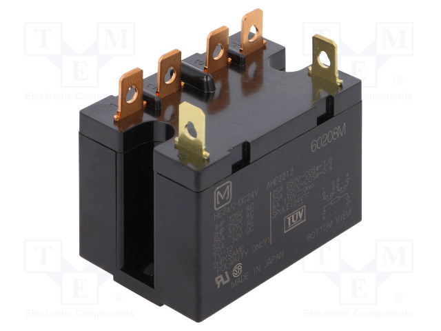 HE2AN-DC24V_Relay: electromagnetic; DPST-NO; Ucoil:24VDC; Icontacts max:25A