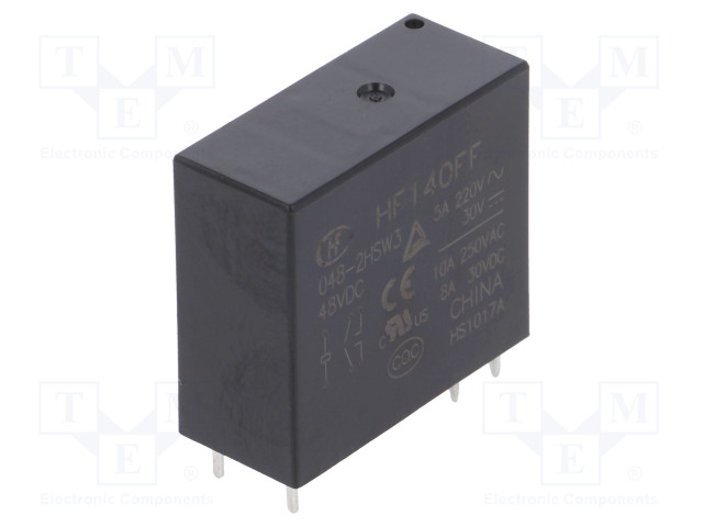 HF140FF/048-2HSW3_Relay: electromagnetic; DPST-NO; Ucoil:48VDC; 10A/250VAC; 10A