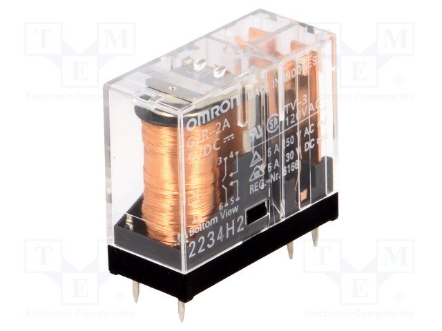 G2R-2A 5VDC_Relay: electromagnetic; DPST-NO; Ucoil:5VDC; 5A/250VAC; 5A/30VDC