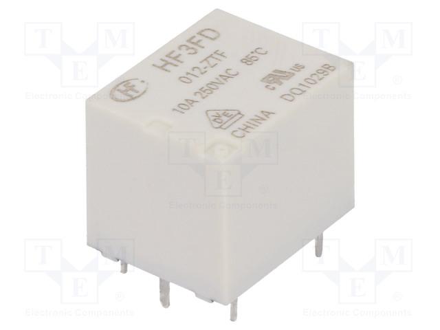HF3FD/012-ZTF_Relay: electromagnetic; SPDT; Ucoil:12VDC; 10A/250VAC; 10A/28VDC