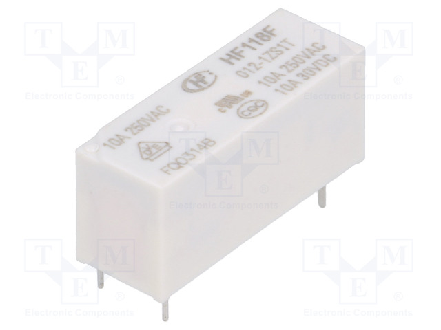 HF118F/012-1ZS1T_Relay: electromagnetic; SPDT; Ucoil:12VDC; 10A/250VAC; 10A/30VDC