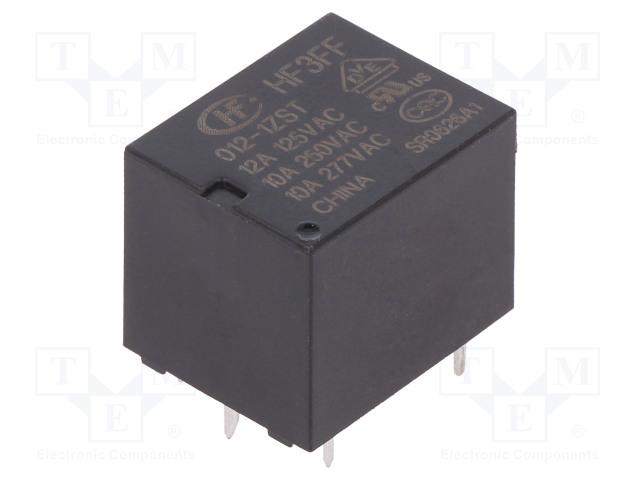 HF3FF/012-1ZST_Relay: electromagnetic; SPDT; Ucoil:12VDC; 10A/277VAC; 10A/28VDC