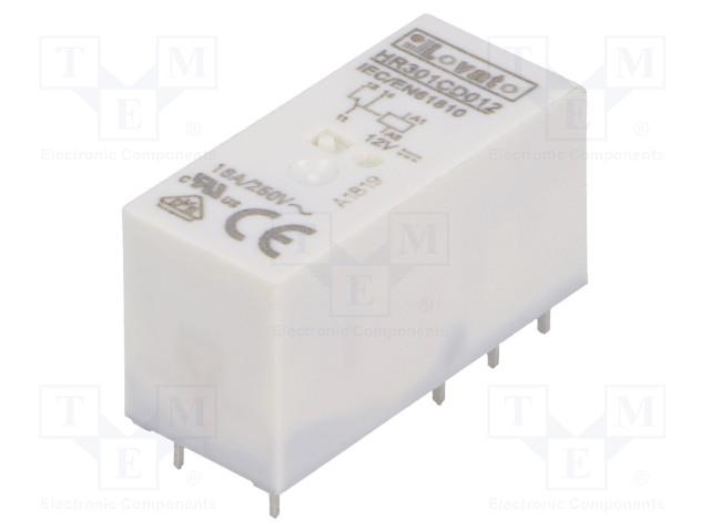 HR301CD012_Relay: electromagnetic; SPDT; Ucoil:12VDC; 16A/250VAC; 12A/30VDC