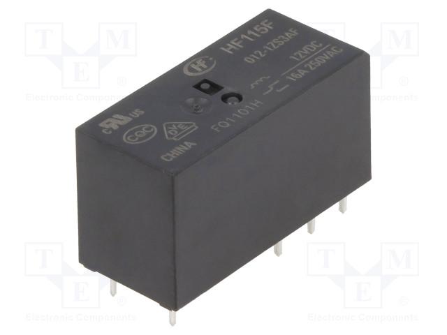 HF115F/012-1ZS3AF_Relay: electromagnetic; SPDT; Ucoil:12VDC; 16A/250VAC; 16A/24VDC