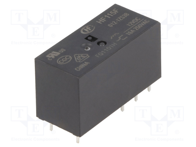 HF115F/012-1ZS3B_Relay: electromagnetic; SPDT; Ucoil:12VDC; 16A/250VAC; 16A/24VDC