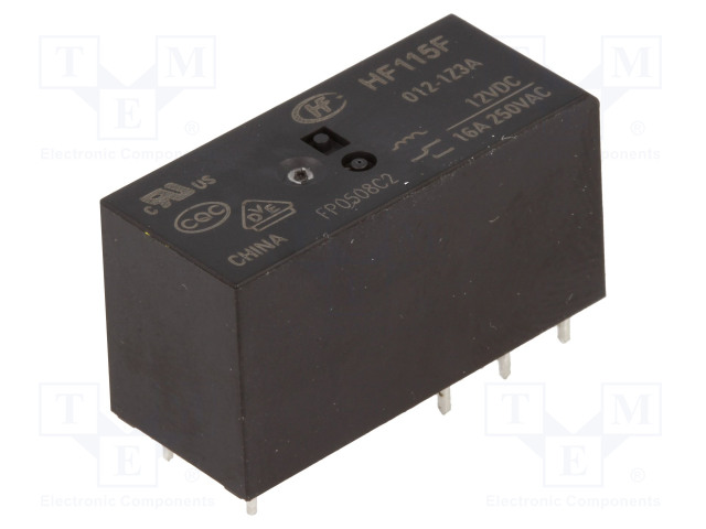 HF115F/012-1Z3A_Relay: electromagnetic; SPDT; Ucoil:12VDC; 16A/250VAC; 16A/24VDC