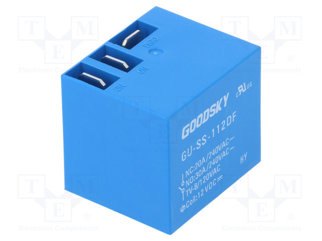 GU-SS-112DF_Relay: electromagnetic; SPDT; Ucoil:12VDC; 30A; Mounting: PCB