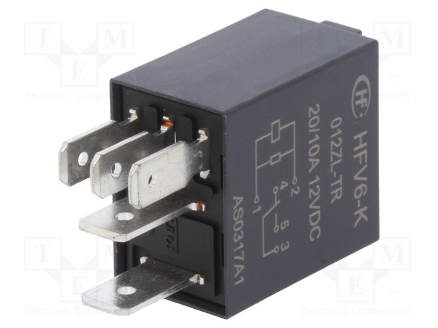 HFV6-K/012ZL-TR_Relay: electromagnetic; SPDT; Ucoil:12VDC; 30A; automotive; 124Ω