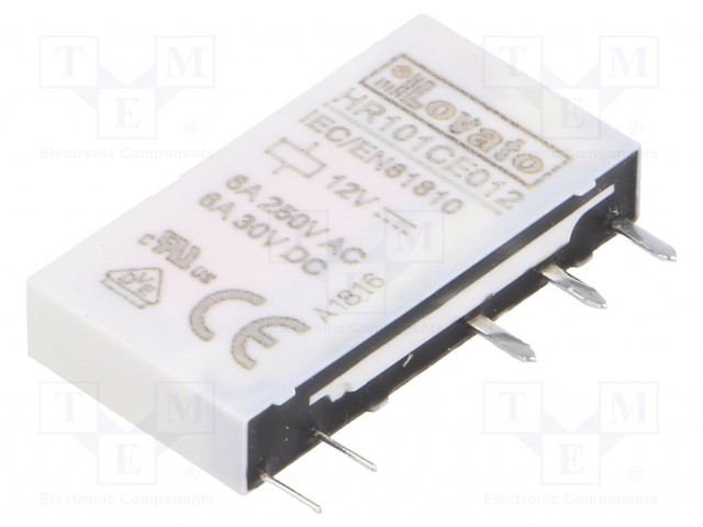 HR101CE012_Relay: electromagnetic; SPDT; Ucoil:12VDC; 6A/250VAC; 6A/30VDC; 6A