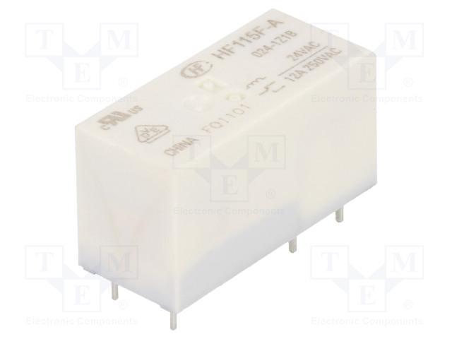 HF115F-A/024-1Z1B_Relay: electromagnetic; SPDT; Ucoil:24VAC; 12A/250VAC; 12A/24VDC
