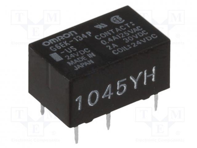 G6EK-134P-US 24VDC_Relay: electromagnetic; SPDT; Ucoil:24VDC; 0.4A/125VAC; 2A/30VDC