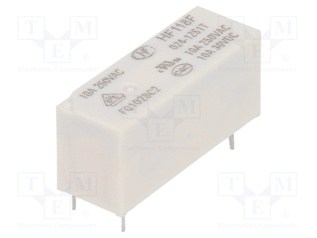 HF118F/024-1ZS1T_Relay: electromagnetic; SPDT; Ucoil:24VDC; 10A/250VAC; 10A/30VDC