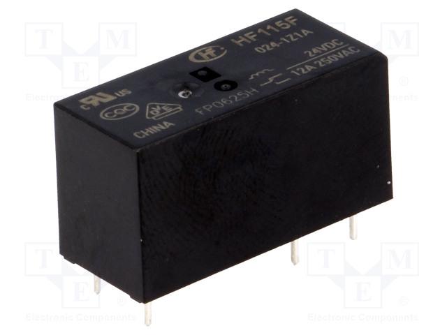HF115F/024-1Z1A_Relay: electromagnetic; SPDT; Ucoil:24VDC; 12A/250VAC; 12A/24VDC