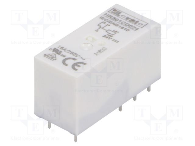 HR301CD024_Relay: electromagnetic; SPDT; Ucoil:24VDC; 16A/250VAC; 12A/30VDC
