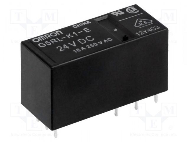 G5RL-K1-E-24DC_Relay: electromagnetic; SPDT; Ucoil:24VDC; 16A/250VAC; 16A/24VDC