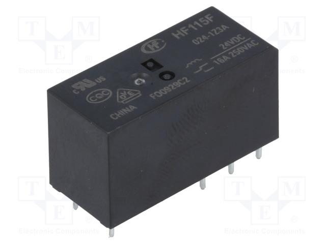 HF115F/024-1Z3A_Relay: electromagnetic; SPDT; Ucoil:24VDC; 16A/250VAC; 16A/24VDC