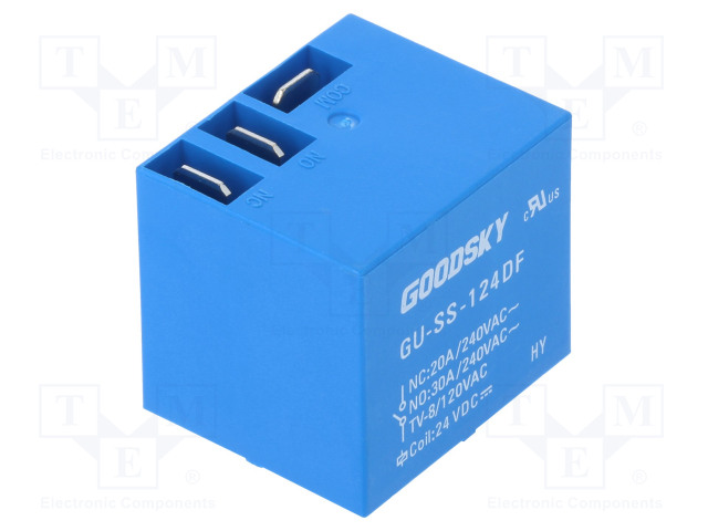 GU-SS-124DF_Relay: electromagnetic; SPDT; Ucoil:24VDC; 30A; Mounting: PCB