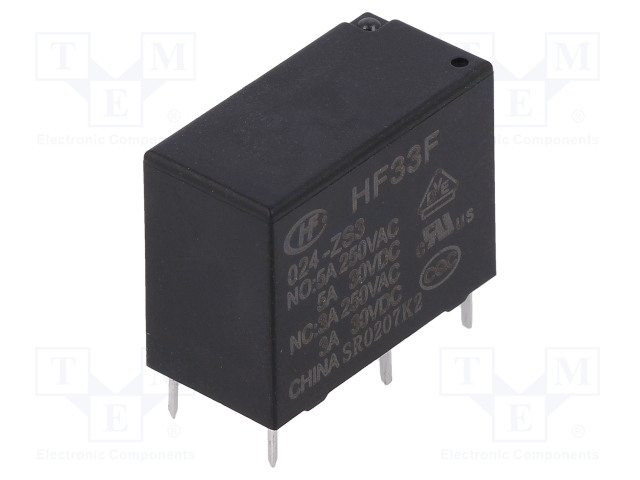 HF33F/024-ZS3_Relay: electromagnetic; SPDT; Ucoil:24VDC; 5A/250VAC; 5A/30VDC