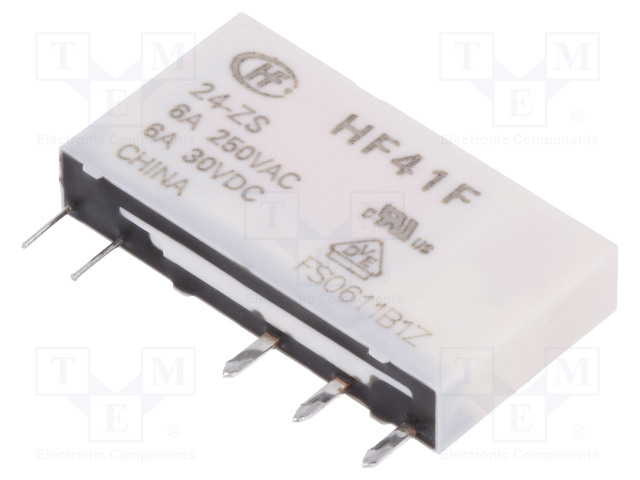 HF41F/24-ZS_Relay: electromagnetic; SPDT; Ucoil:24VDC; 6A/250VAC; 6A/30VDC; 6A