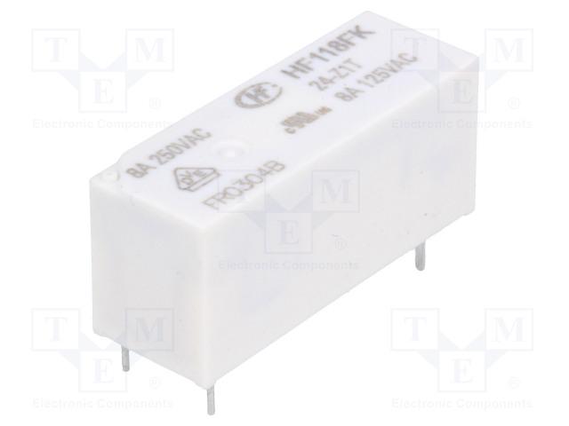 HF118FK/24-Z1T_Relay: electromagnetic; SPDT; Ucoil:24VDC; 8A/250VAC; 8A/30VDC; 8A